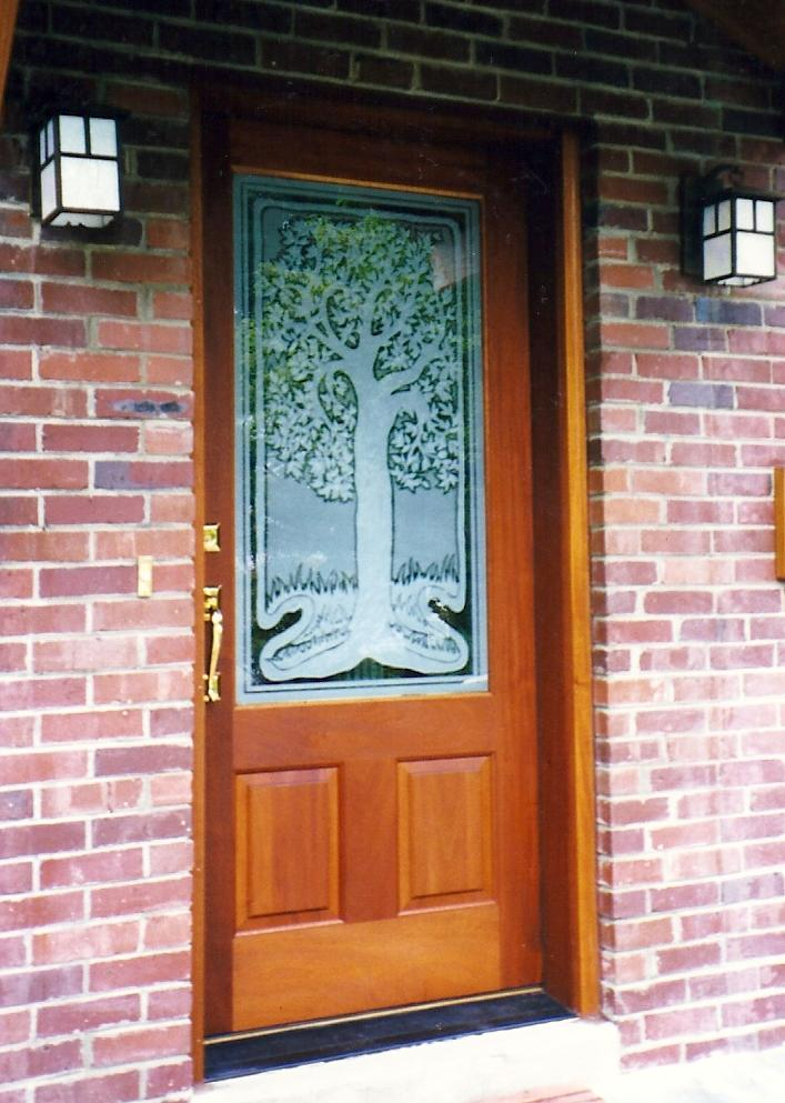 Doors etched glass etched glass design by premier for Arts and crafts door