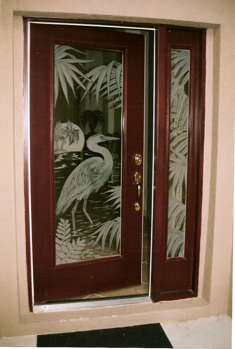 Doors etched glass etched glass design by premier for Designer door design