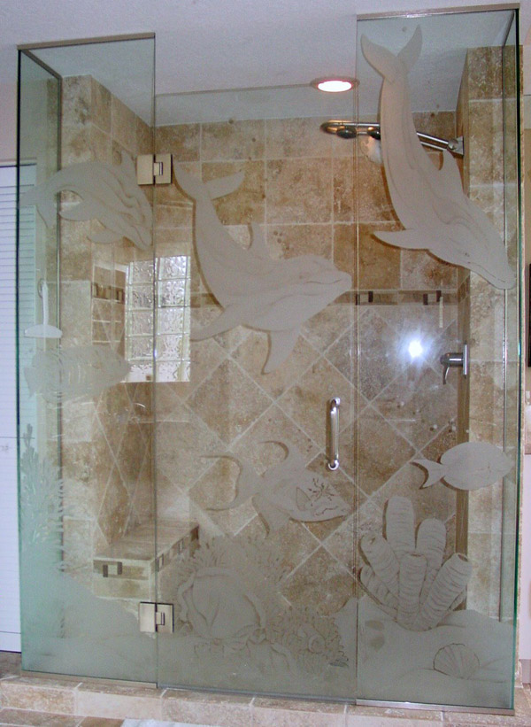Showers Etched Shower Glass Etched Glass Etched