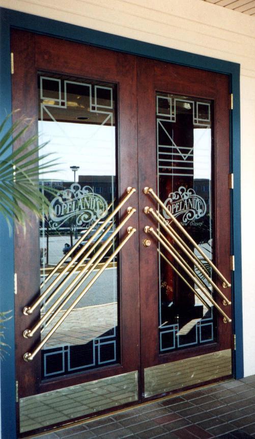 Restaurant design etched glass